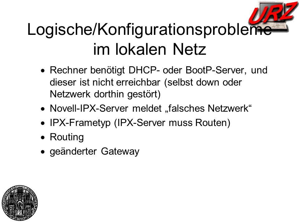 Logische/Konfigurationsprobleme im lokalen Netz