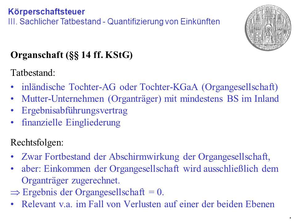 Organschaft (§§ 14 ff. KStG) Tatbestand: