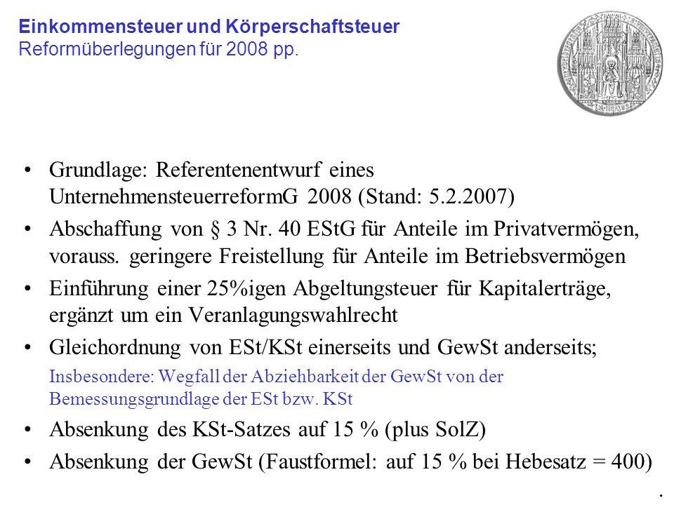 Gleichordnung von ESt/KSt einerseits und GewSt anderseits;