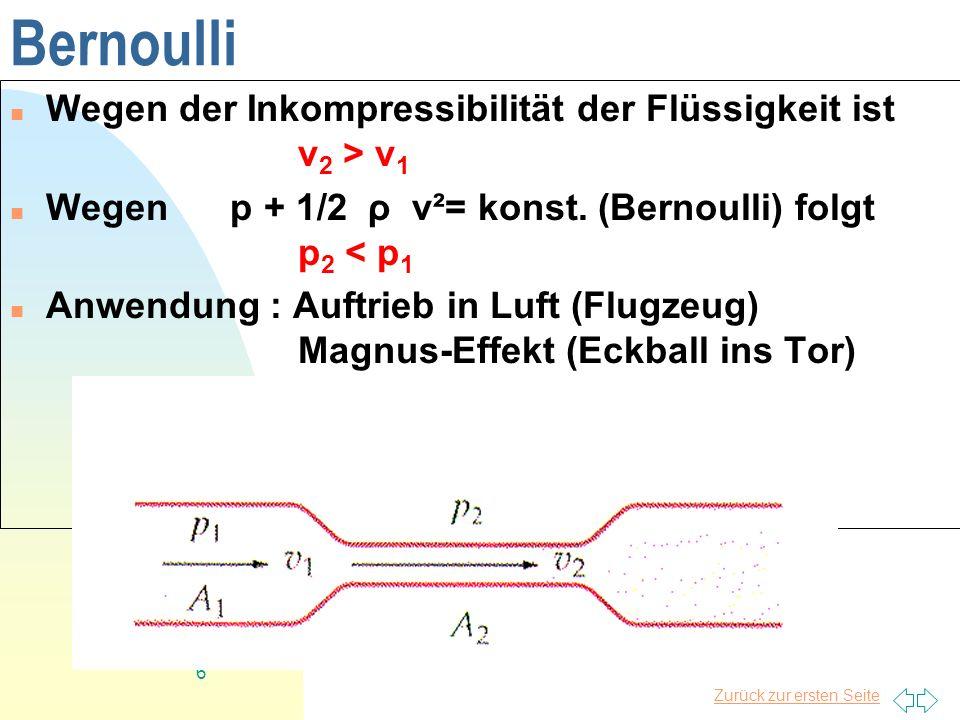 Bernoulli Wegen der Inkompressibilität der Flüssigkeit ist v2 > v1
