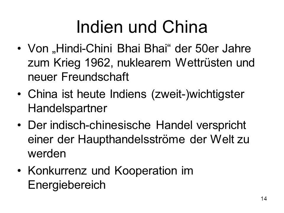 """Indien und China Von """"Hindi-Chini Bhai Bhai der 50er Jahre zum Krieg 1962, nuklearem Wettrüsten und neuer Freundschaft."""