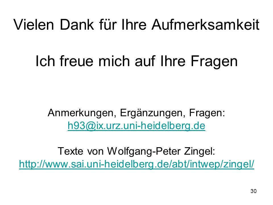 Vielen Dank für Ihre Aufmerksamkeit Ich freue mich auf Ihre Fragen Anmerkungen, Ergänzungen, Fragen: h93@ix.urz.uni-heidelberg.de Texte von Wolfgang-Peter Zingel: http://www.sai.uni-heidelberg.de/abt/intwep/zingel/