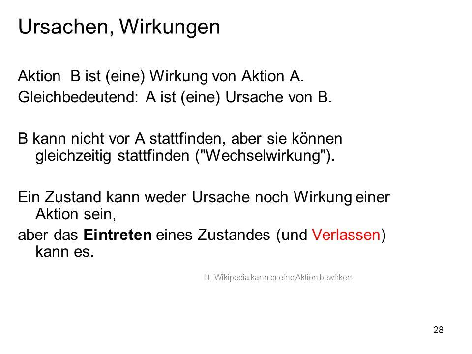 Ursachen, Wirkungen Aktion B ist (eine) Wirkung von Aktion A.