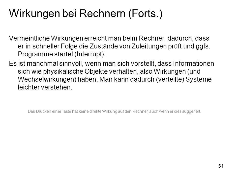 Wirkungen bei Rechnern (Forts.)