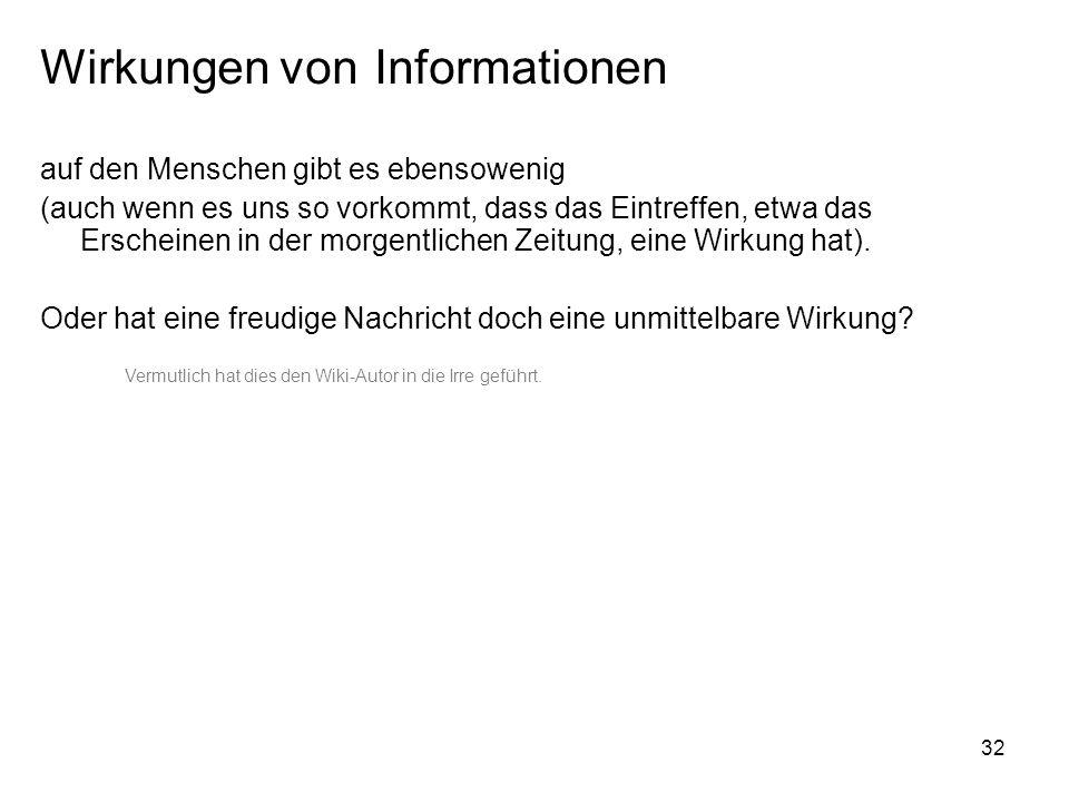Wirkungen von Informationen