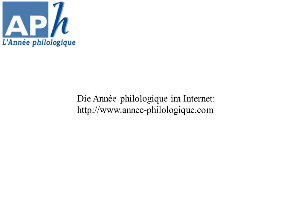 Die Année philologique im Internet: