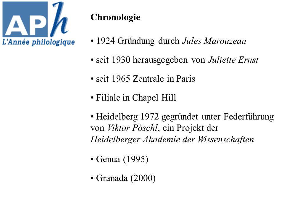 Chronologie 1924 Gründung durch Jules Marouzeau. seit 1930 herausgegeben von Juliette Ernst. seit 1965 Zentrale in Paris.