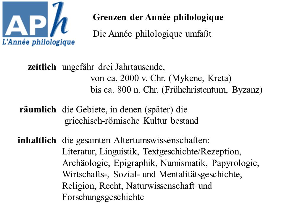 Grenzen der Année philologique