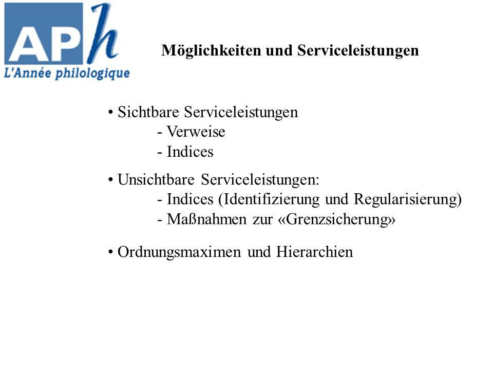 Möglichkeiten und Serviceleistungen