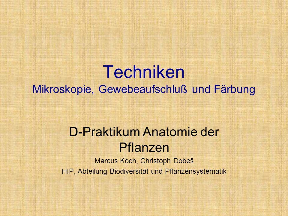 Techniken Mikroskopie, Gewebeaufschluß und Färbung