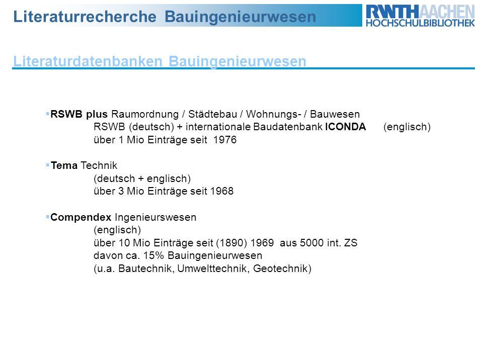 Literaturdatenbanken Bauingenieurwesen