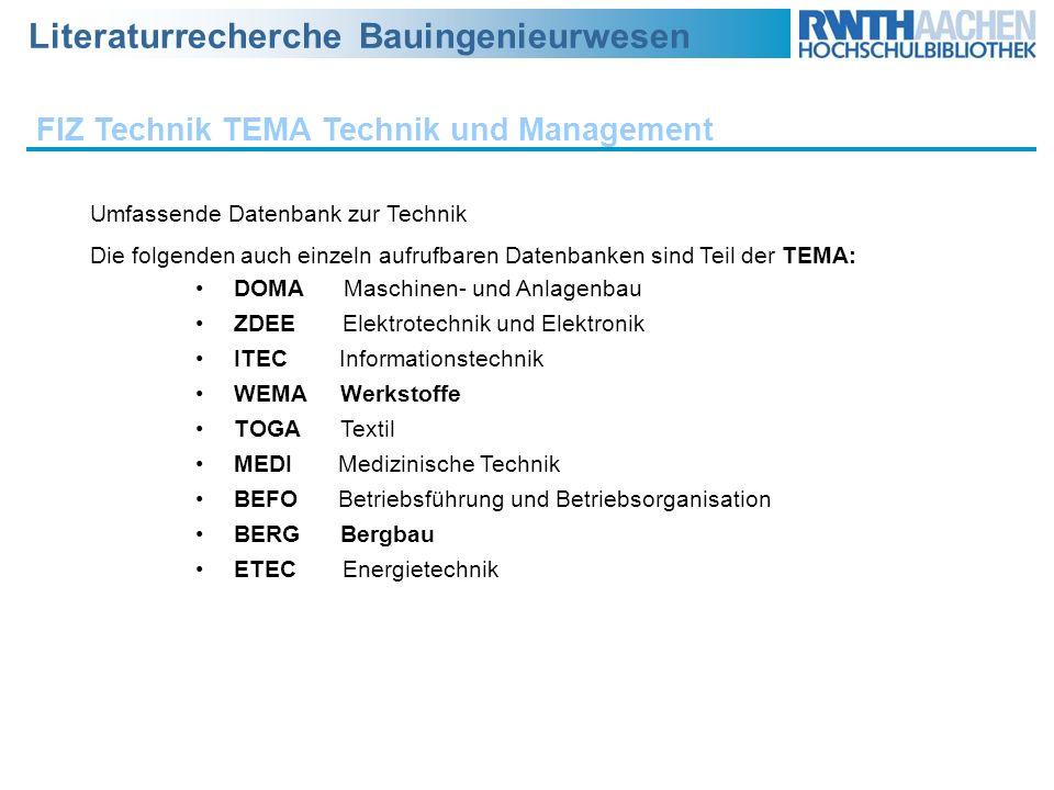 FIZ Technik TEMA Technik und Management