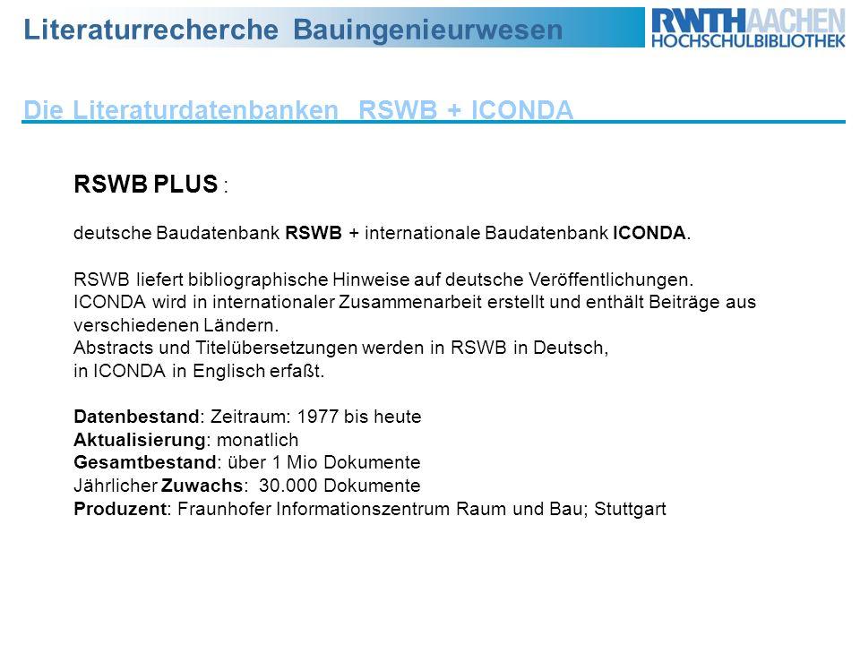 Die Literaturdatenbanken RSWB + ICONDA