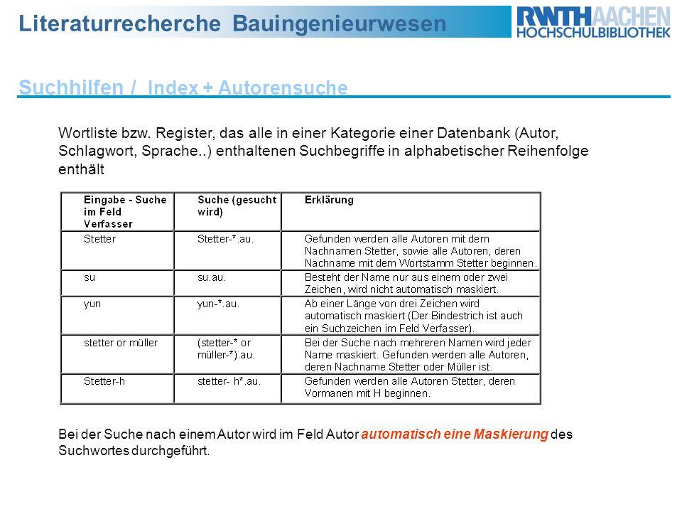Suchhilfen / Index + Autorensuche