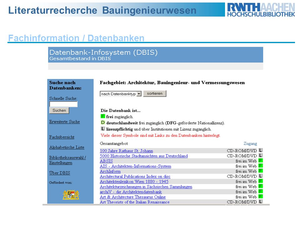 Fachinformation / Datenbanken