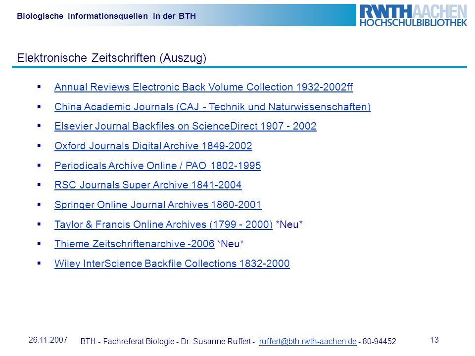 Elektronische Zeitschriften (Auszug)