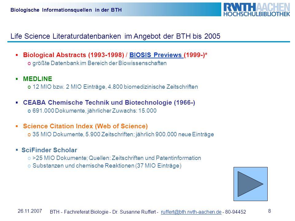 Life Science Literaturdatenbanken im Angebot der BTH bis 2005