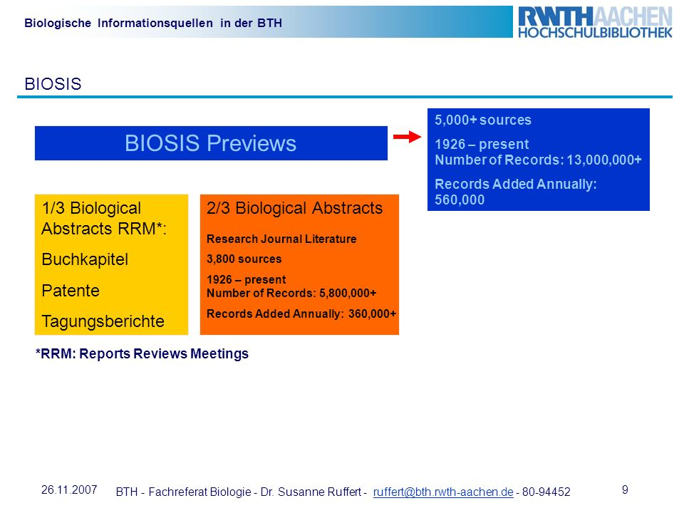 BIOSIS Previews BIOSIS 1/3 Biological Abstracts RRM*: Buchkapitel