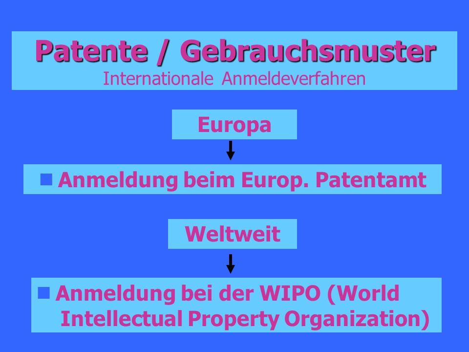 Patente / Gebrauchsmuster Internationale Anmeldeverfahren