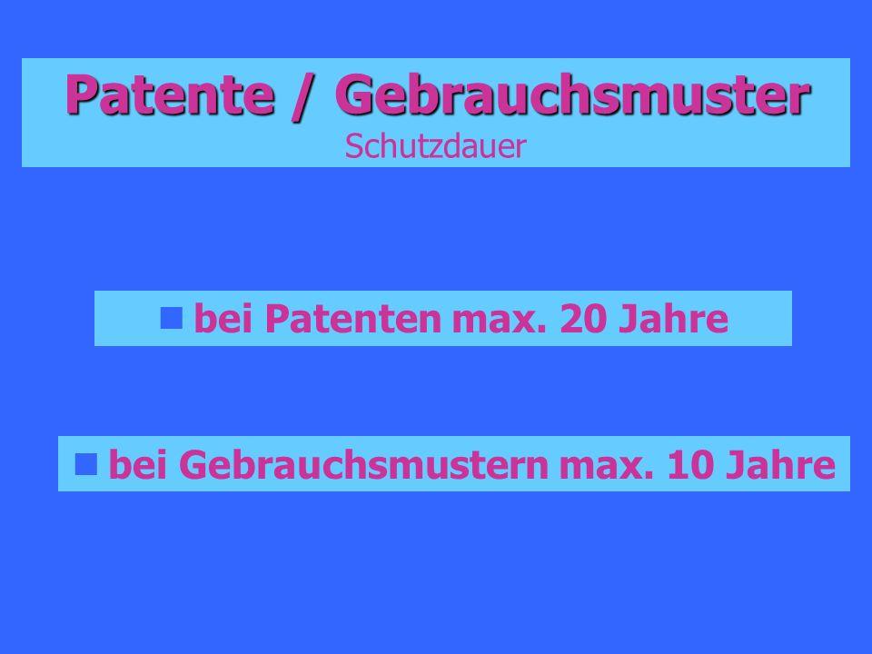 Patente / Gebrauchsmuster Schutzdauer