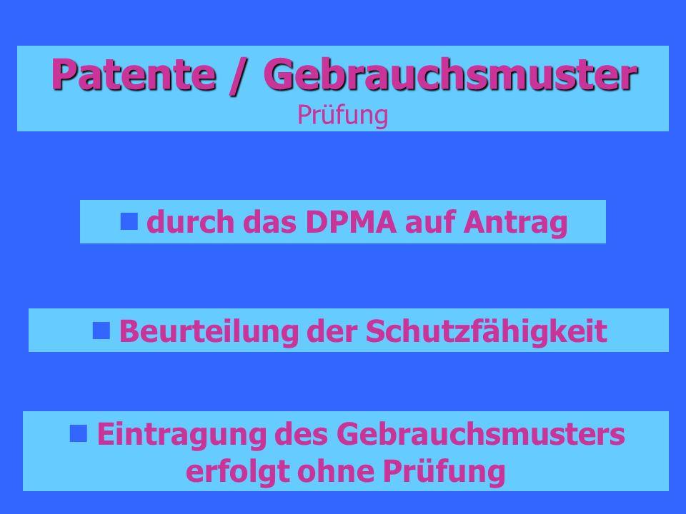 Patente / Gebrauchsmuster Prüfung