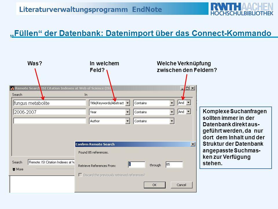"""""""Füllen der Datenbank: Datenimport über das Connect-Kommando"""