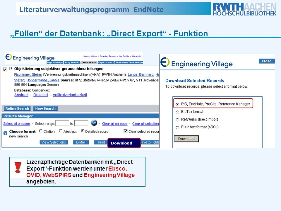 """Füllen der Datenbank: ""Direct Export - Funktion"