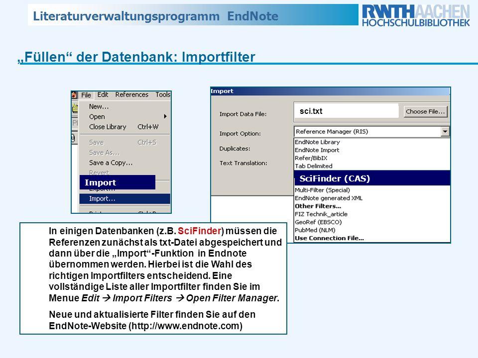 """Füllen der Datenbank: Importfilter"