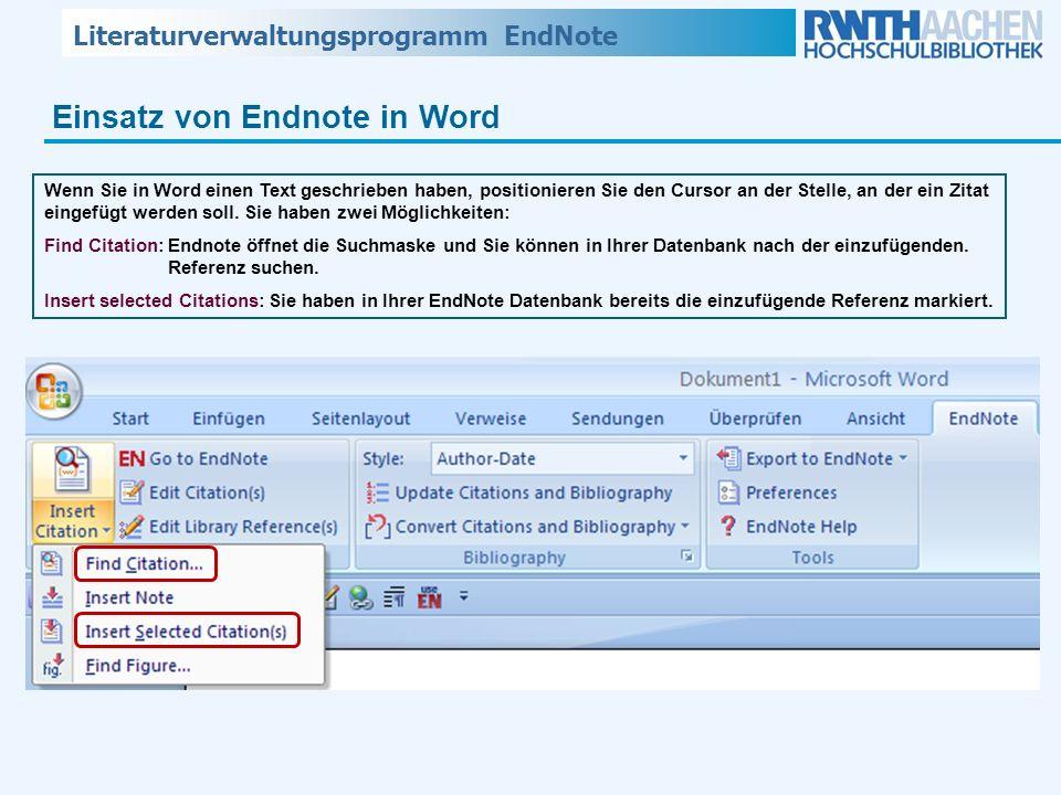 Einsatz von Endnote in Word