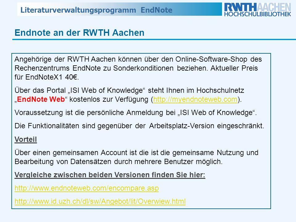 Endnote an der RWTH Aachen
