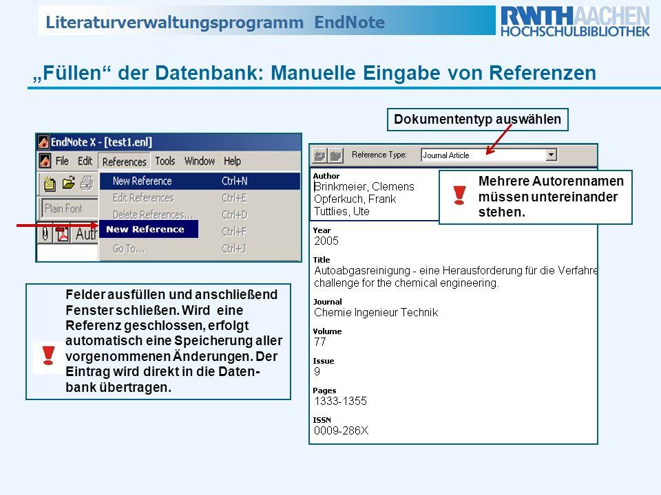 """""""Füllen der Datenbank: Manuelle Eingabe von Referenzen"""
