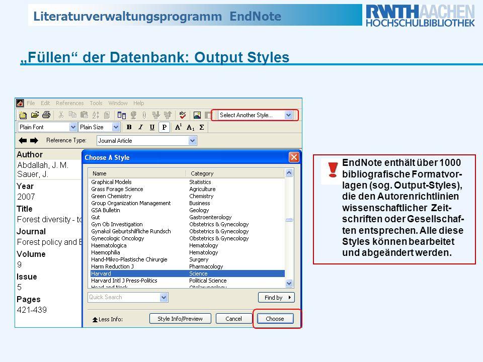"""""""Füllen der Datenbank: Output Styles"""