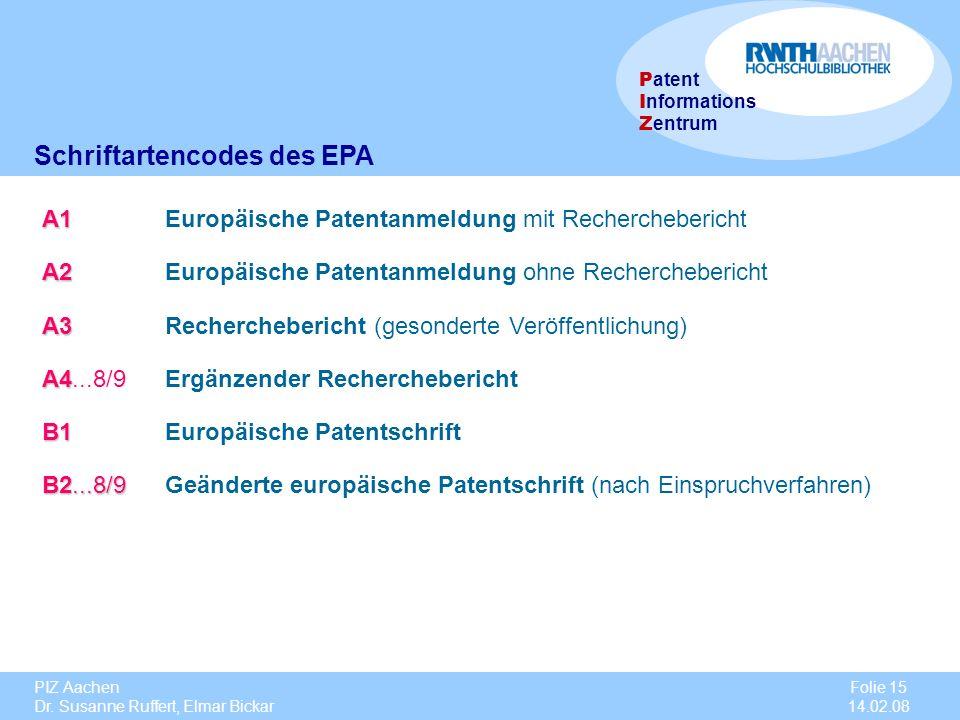 Schriftartencodes des EPA