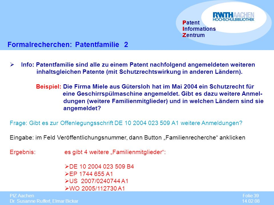 Formalrecherchen: Patentfamilie 2