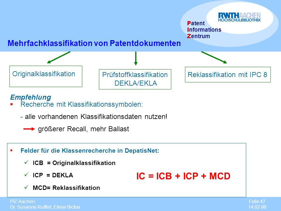 IC = ICB + ICP + MCD Mehrfachklassifikation von Patentdokumenten