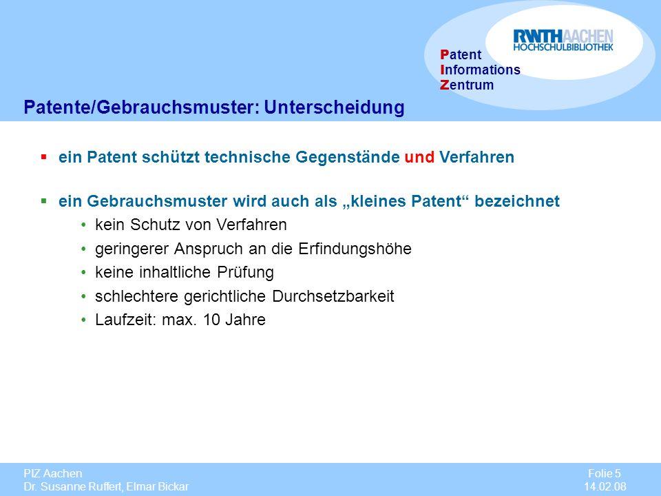 Patente/Gebrauchsmuster: Unterscheidung