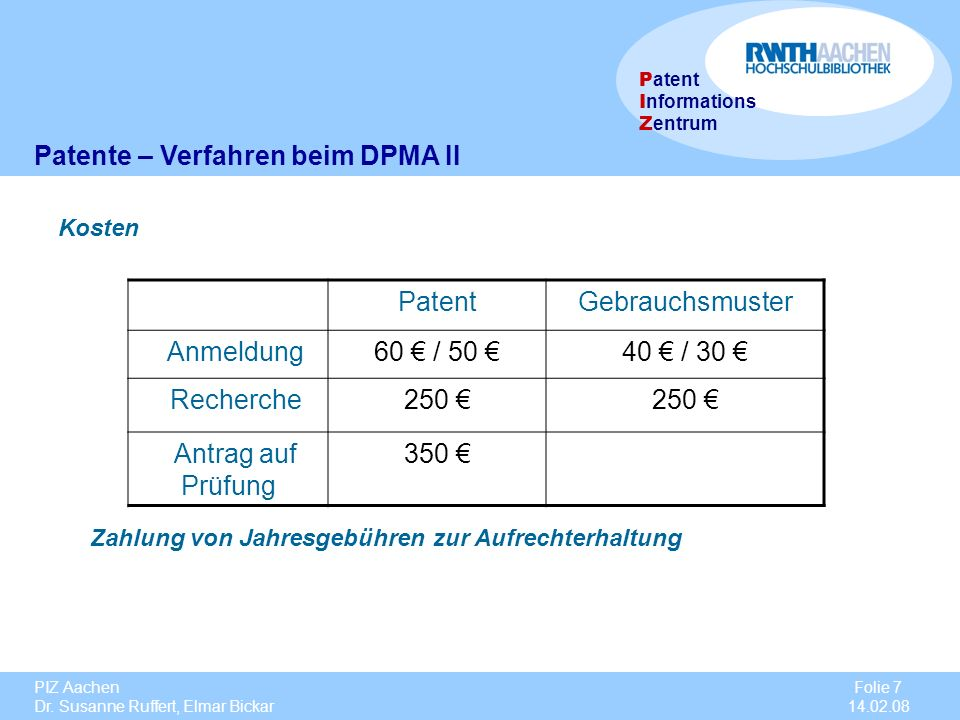 Patente – Verfahren beim DPMA II Patent Gebrauchsmuster Anmeldung