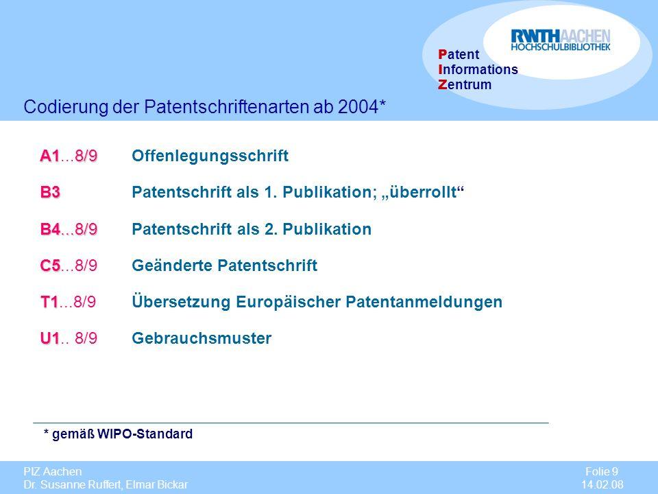 Codierung der Patentschriftenarten ab 2004*