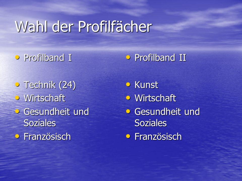 Wahl der Profilfächer Profilband I Technik (24) Wirtschaft
