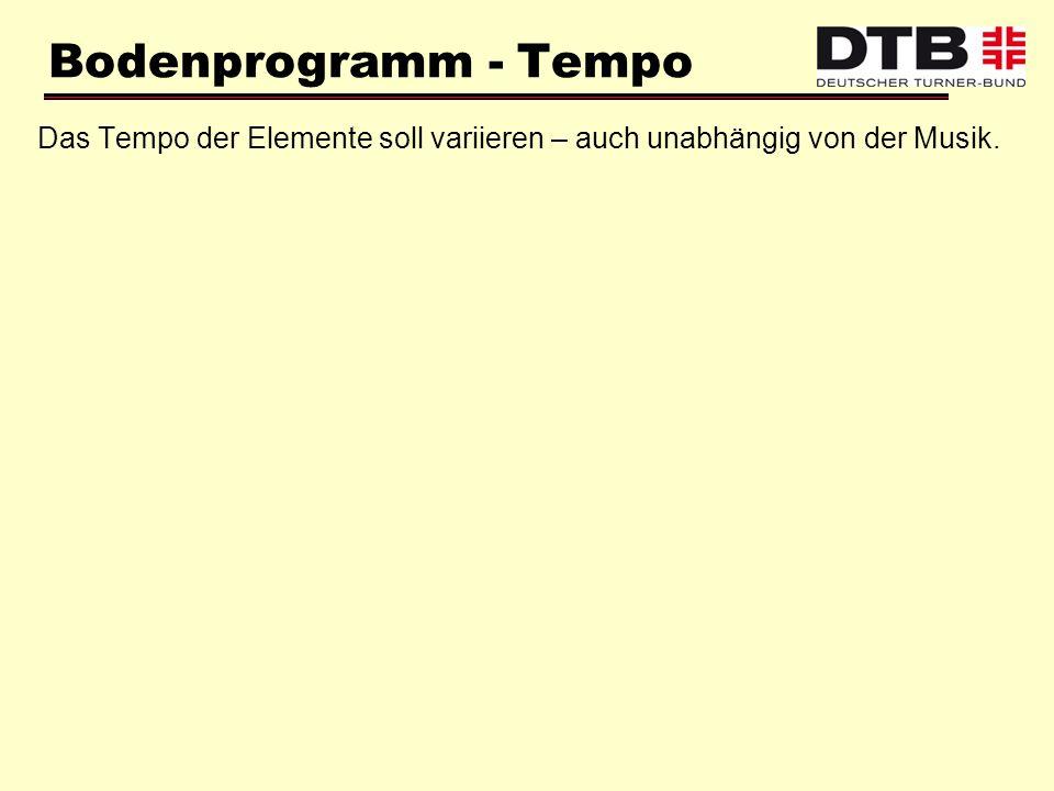 Bodenprogramm - Tempo Das Tempo der Elemente soll variieren – auch unabhängig von der Musik.