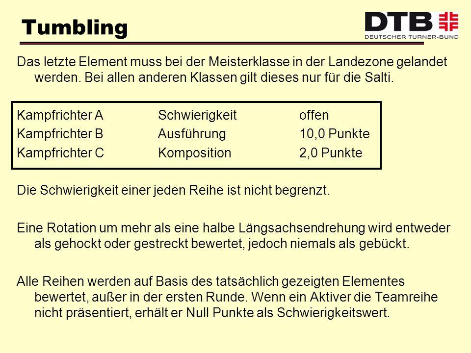Tumbling Das letzte Element muss bei der Meisterklasse in der Landezone gelandet werden. Bei allen anderen Klassen gilt dieses nur für die Salti.