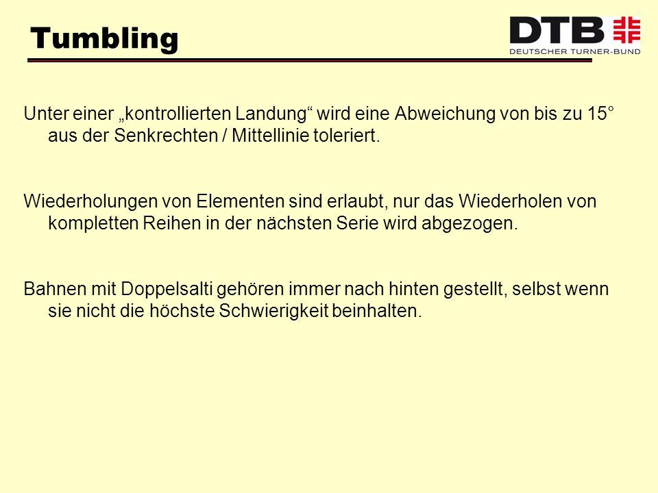 """Tumbling Unter einer """"kontrollierten Landung wird eine Abweichung von bis zu 15° aus der Senkrechten / Mittellinie toleriert."""