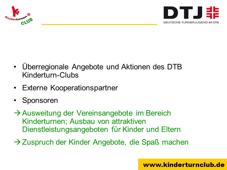 Überregionale Angebote und Aktionen des DTB Kinderturn-Clubs