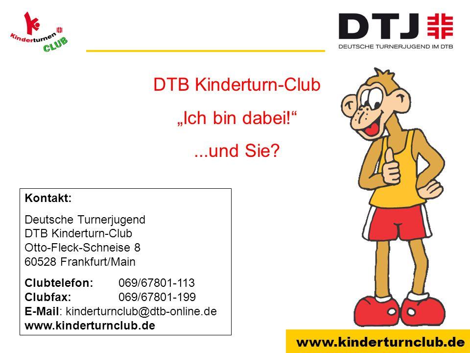 """DTB Kinderturn-Club """"Ich bin dabei! ...und Sie Kontakt:"""
