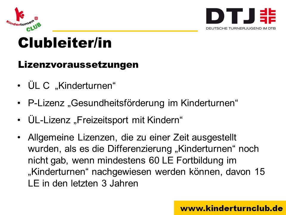 """Clubleiter/in Lizenzvoraussetzungen ÜL C """"Kinderturnen"""