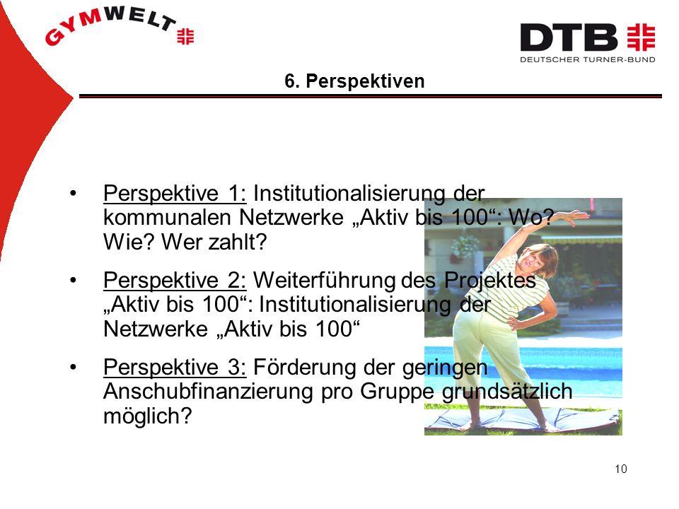 """6. Perspektiven Perspektive 1: Institutionalisierung der kommunalen Netzwerke """"Aktiv bis 100 : Wo Wie Wer zahlt"""