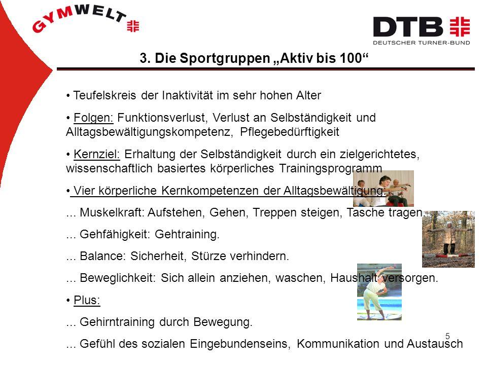 """3. Die Sportgruppen """"Aktiv bis 100"""