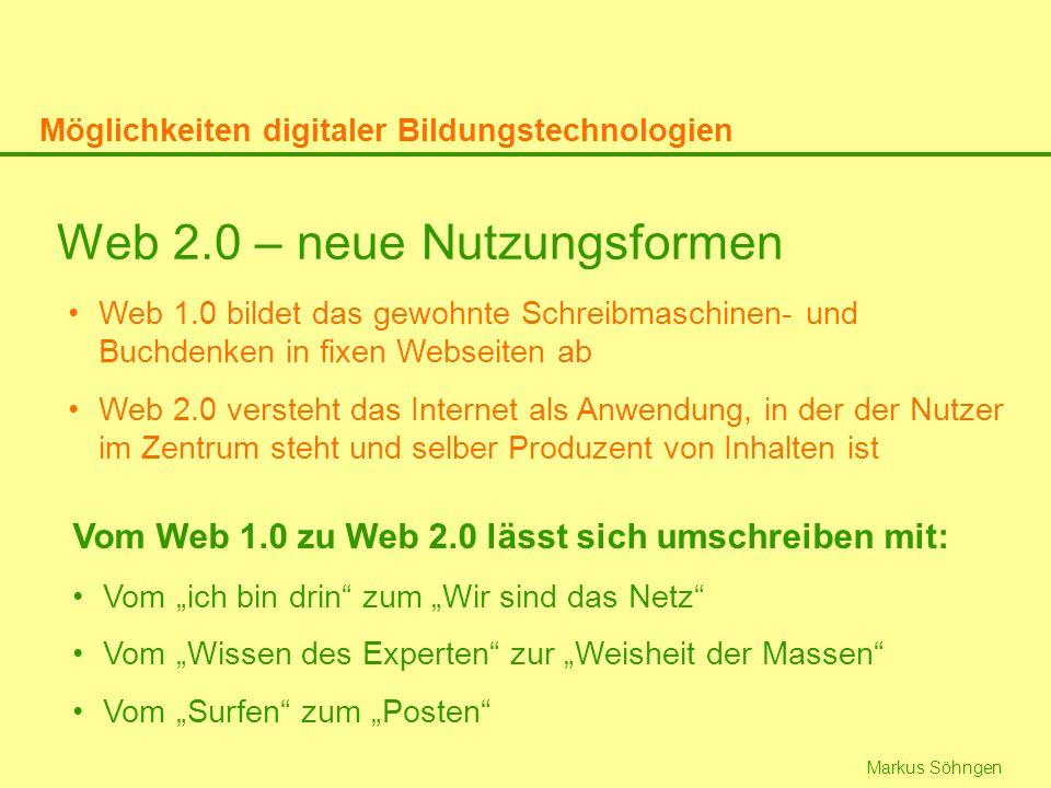 Web 2.0 – neue Nutzungsformen