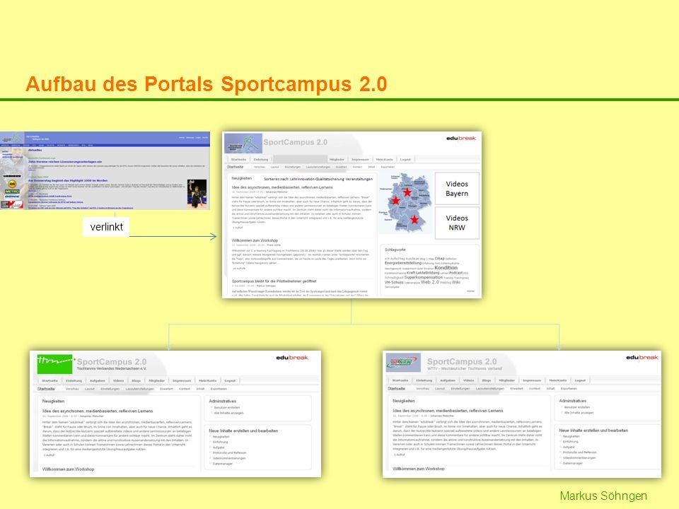 Aufbau des Portals Sportcampus 2.0