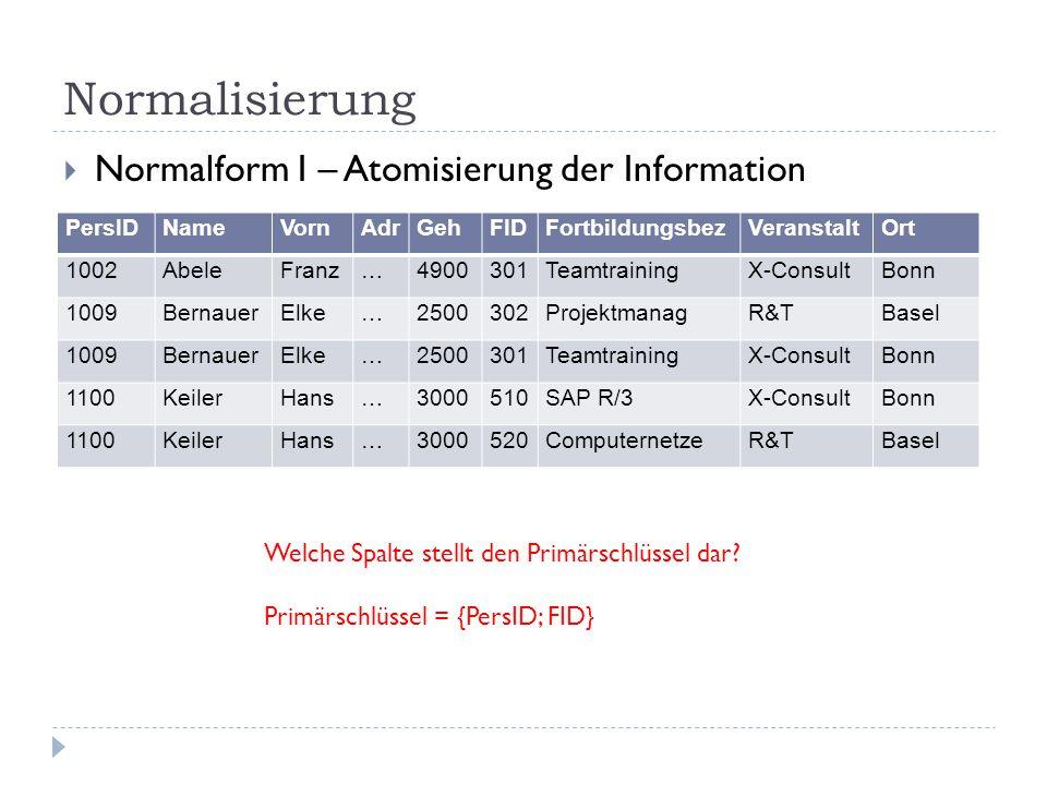Normalisierung Normalform I – Atomisierung der Information